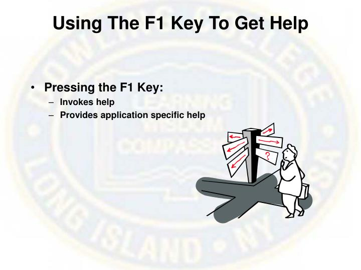 Using The F1 Key To Get Help