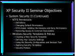 xp security ii seminar objectives1