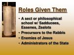 roles given them