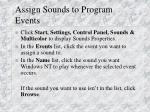 assign sounds to program events