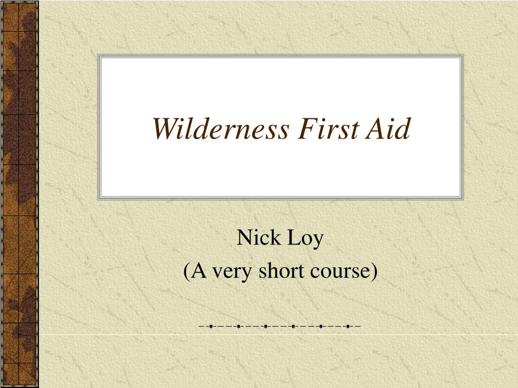 wilderness first aid l.