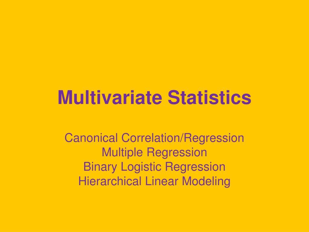 multivariate statistics l.