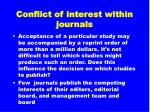 conflict of interest within journals32
