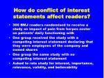 how do conflict of interest statements affect readers