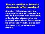 how do conflict of interest statements affect readers27