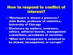 how to respond to conflict of interest