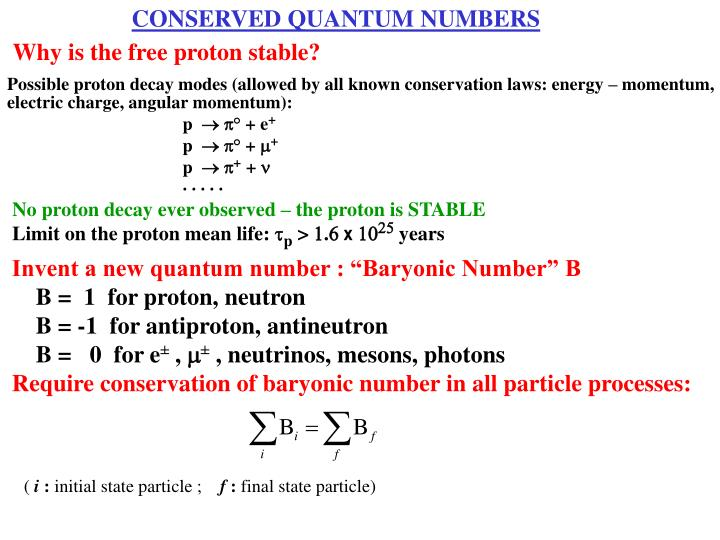 CONSERVED QUANTUM NUMBERS