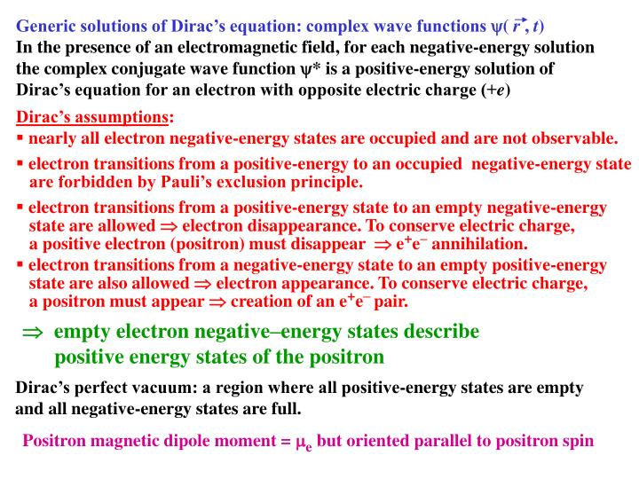 Generic solutions of Dirac's equation: complex wave functions