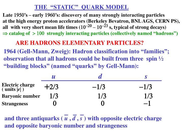 "THE  ""STATIC""  QUARK MODEL"