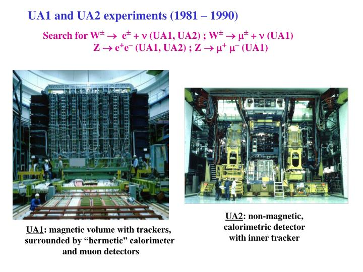 UA1 and UA2 experiments (1981 – 1990)