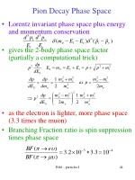 pion decay phase space