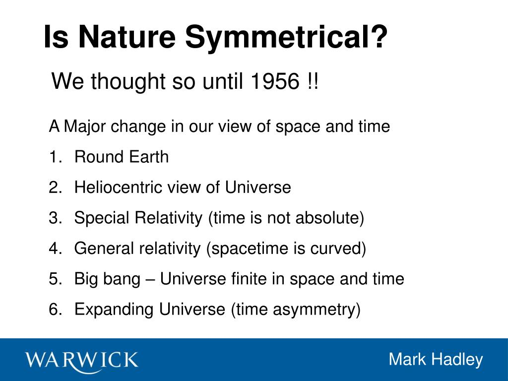 Is Nature Symmetrical?