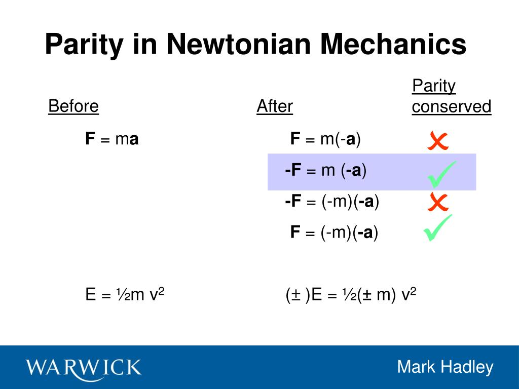 Parity in Newtonian Mechanics