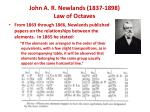 john a r newlands 1837 1898 law of octaves