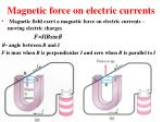 magnetic force on electric currents