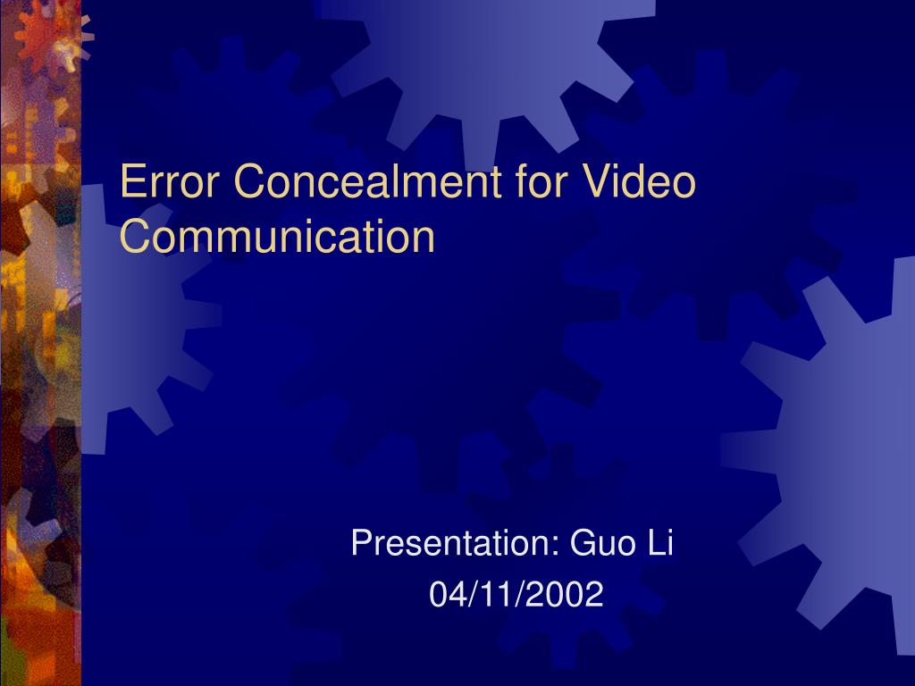 error concealment for video communication l.