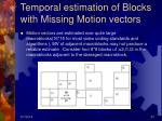 temporal estimation of blocks with missing motion vectors