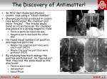 the discovery of antimatter