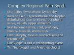 complex regional pain synd