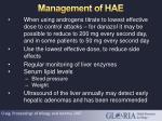 management of hae34