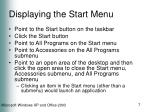 displaying the start menu