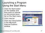 launching a program using the start menu