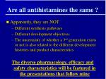 are all antihistamines the same