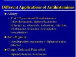 different applications of antihistamines