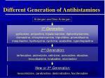 different generation of antihistamines