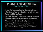 immune hemolytic anemia coombs test direct