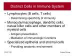 distinct cells in immune system