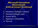 microsoft consultant assessment critical issues continued