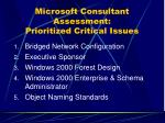 microsoft consultant assessment prioritized critical issues