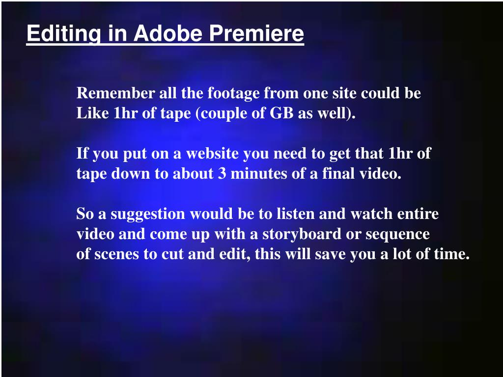 Editing in Adobe Premiere