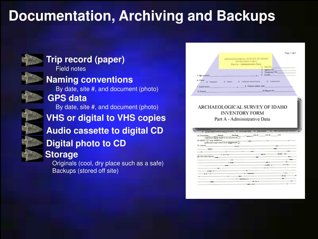 Documentation, Archiving and Backups