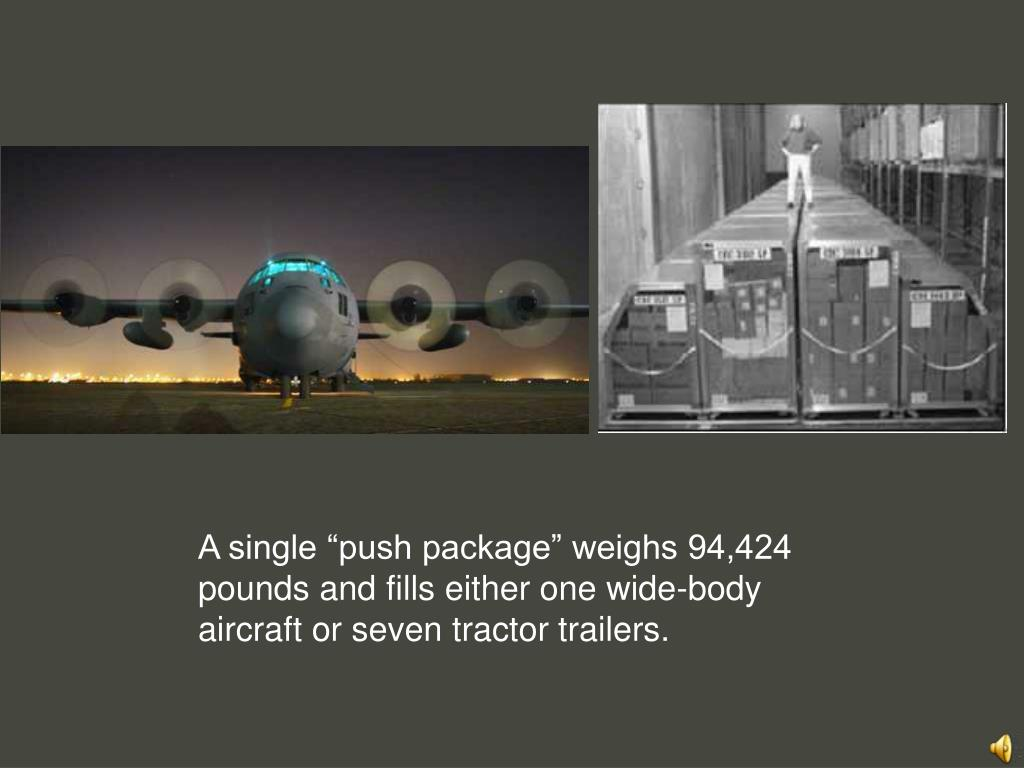 """A single """"push package"""" weighs 94,424 pounds and fills either one wide-body aircraft or seven tractor trailers."""