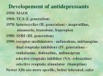 developement of antidepressants