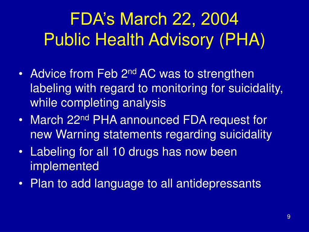 FDA's March 22, 2004