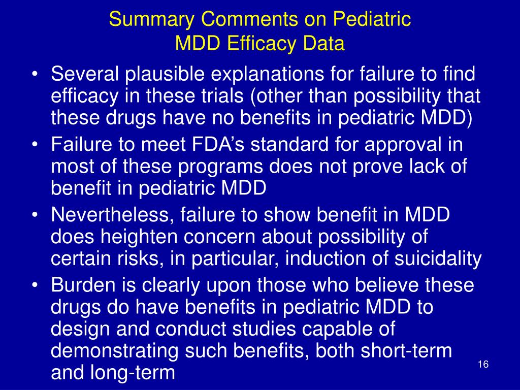 Summary Comments on Pediatric