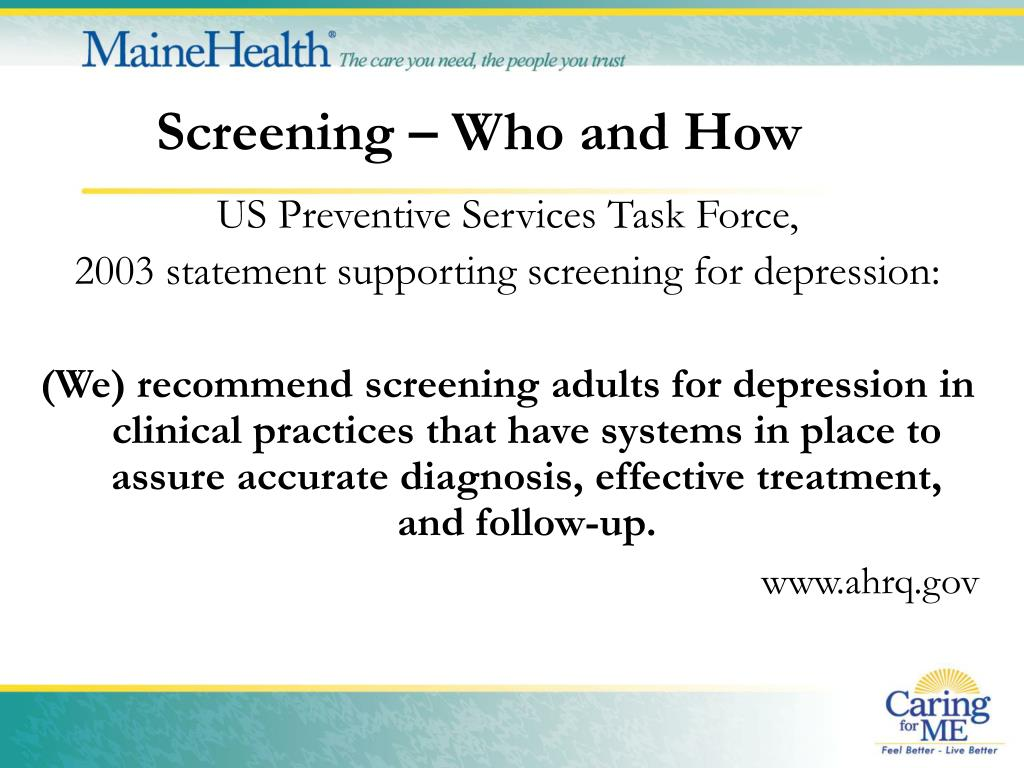 Screening – Who and How
