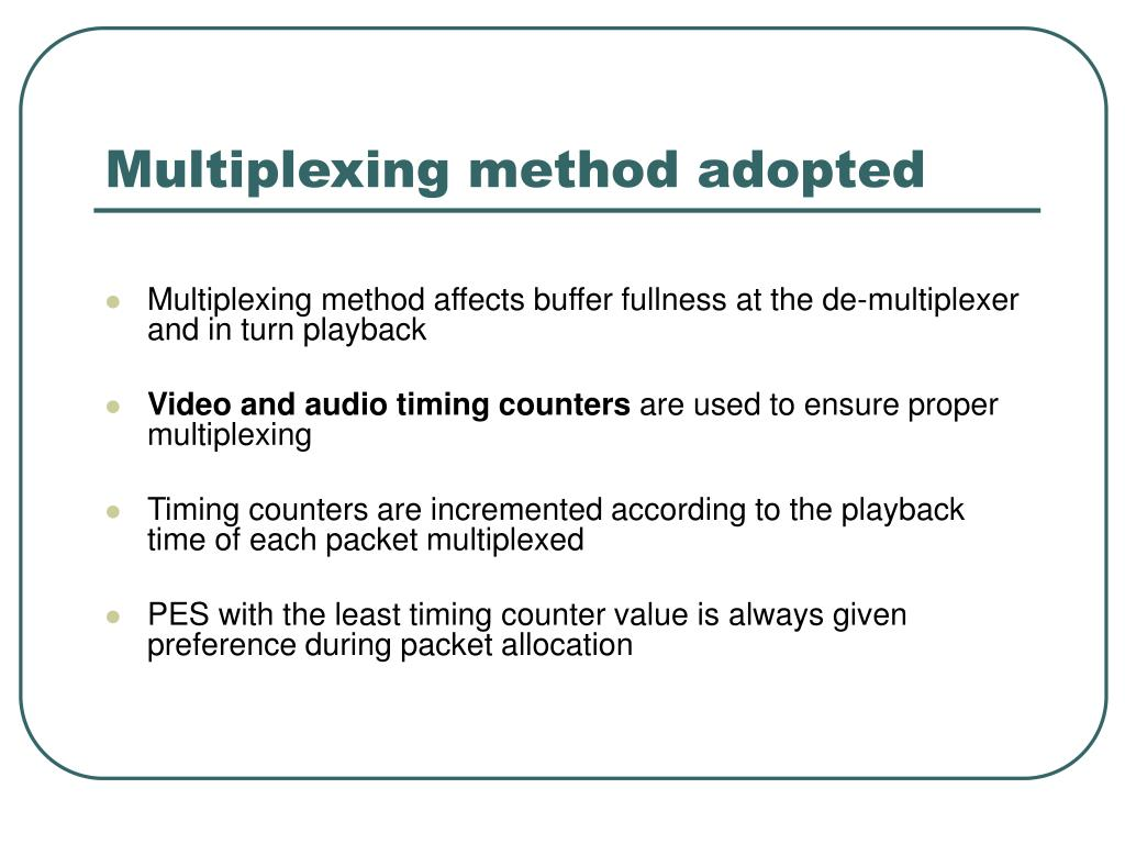 Multiplexing method adopted