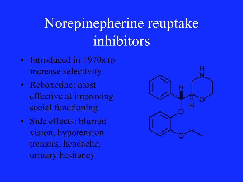Norepinepherine reuptake inhibitors