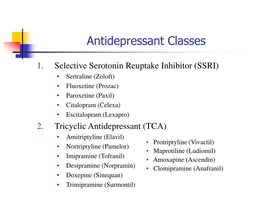 Ppt Antidepressant Classes Powerpoint Presentation Id 158124