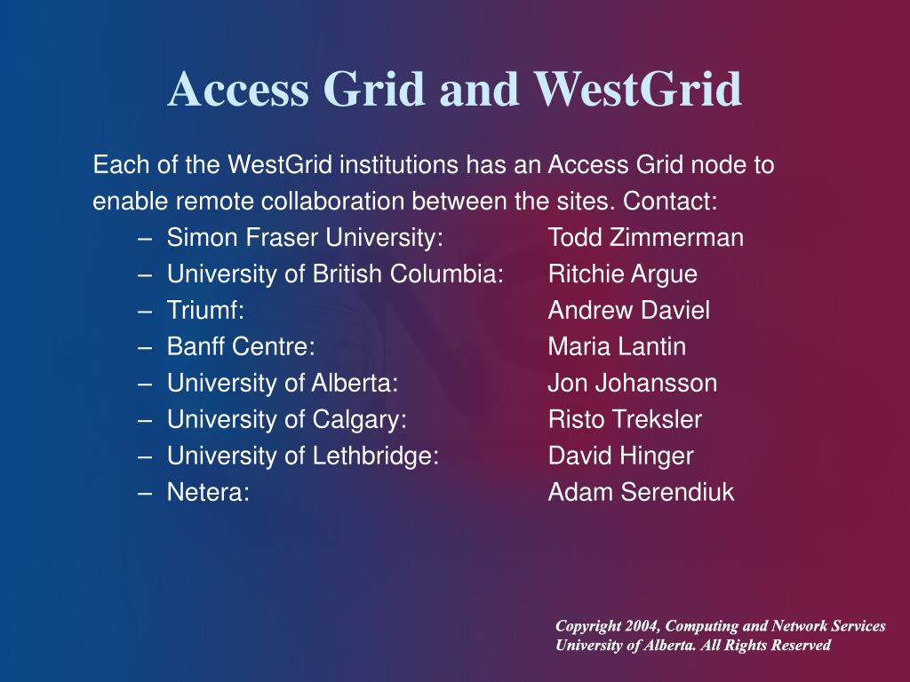 Access Grid and WestGrid