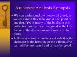 archetype analysis synopsis