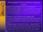 bibliographic citation and story synopsis con t