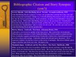 bibliographic citation and story synopsis con t5