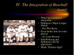 iv the integration of baseball cont8