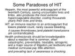 some paradoxes of hit
