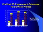 pre post ss employment outcomes hours week worked